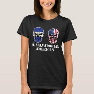El Salvadorian American Flag Skulls T-Shirt