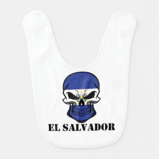 El Salvadorian Flag Skull El Salvador Bib