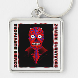 El Zombie Diablo Stickers & Magnets Silver-Colored Square Keychain