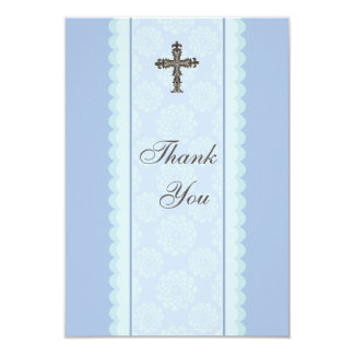 Elaborate Cross Flat Thank You Card