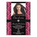 Elaborate Pink Black Damask Graduation Custom Invitation