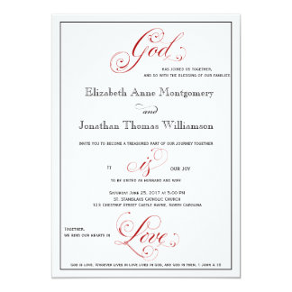 Elaborate Red God is Love Christian Wedding Card