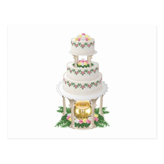 Elaborate Wedding Cake with Fountain Postcard