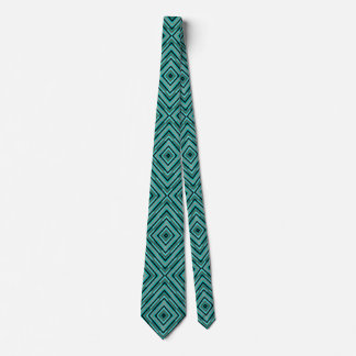 Elagant Diagonal Checker Shades of Green Pattern Tie
