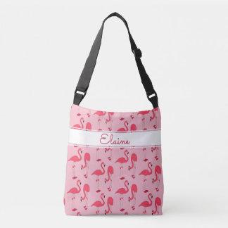 Elaine Pink Flamingos Trendy Novelty Pattern Name Crossbody Bag
