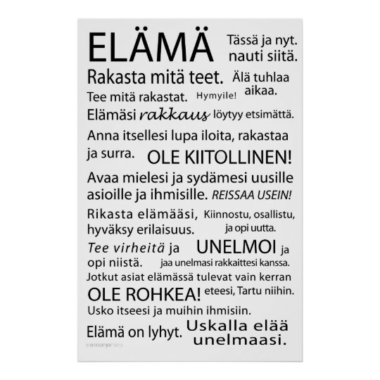 Elama juliste - Life poster in Finnish