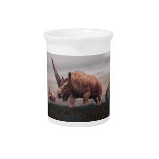 Elasmotherium mammal dinosaurs - 3D render Beverage Pitchers