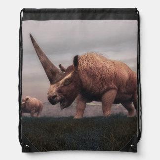 Elasmotherium mammal dinosaurs - 3D render Drawstring Bag