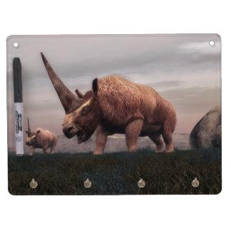 Elasmotherium mammal dinosaurs - 3D render Dry Erase Board With Keychain Holder