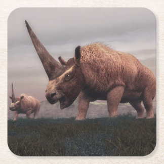 Elasmotherium mammal dinosaurs - 3D render Square Paper Coaster