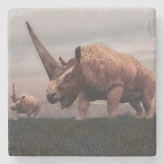 Elasmotherium mammal dinosaurs - 3D render Stone Coaster