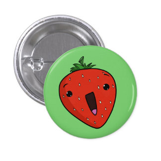 Elated Strawberry 1 Inch Round Button