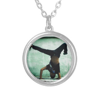 Elbow freeze cool design silver plated necklace