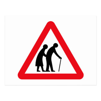 Elderly People (1), Traffic Sign, UK Post Card