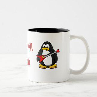 eleceg1, rock n roll penguin Two-Tone coffee mug