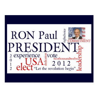 Elect Ron Paul 2012 Postcards