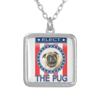 Elect The Pug Silver Plated Necklace