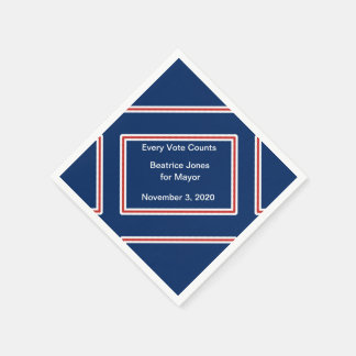 Election Candidate Motto Red White Blue Template Paper Napkin