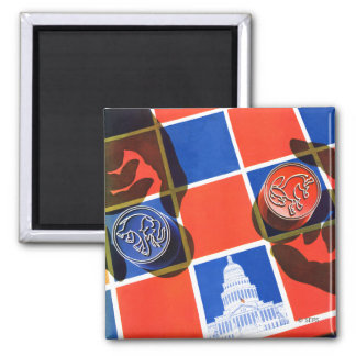 Election Checkerboard Square Magnet
