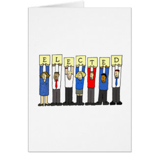 Election success, cartoon voters. greeting card