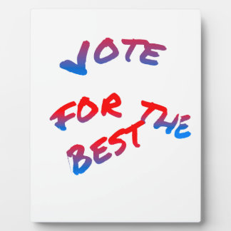 Elections, Vote for the best Plaque