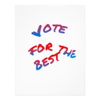 Elections, Vote for the best. Tricolor text art Letterhead