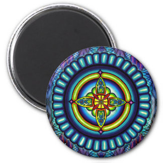 """Electra Star"" Mandala by  Jay Rizzi 2 Inch Round Magnet"