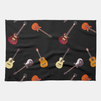 Electric & Acoustic Guitar Collage Kitchen Towel