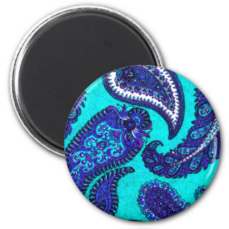 Electric Aqua Blue Indian Paisley 2 Inch Round Magnet