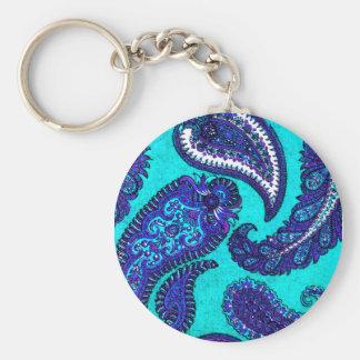 Electric Aqua Blue Indian Paisley Basic Round Button Keychain