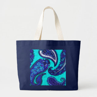 Electric Aqua Indian Paisley Large Tote Bag