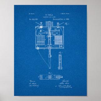 Electric Arc Lamp Patent - Blueprint Poster