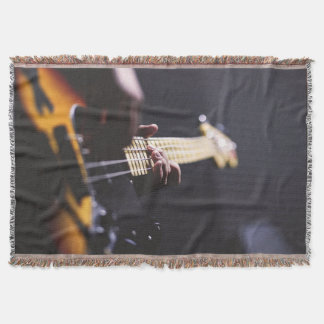 Electric Bass Guitar Player Music Throw Blanket
