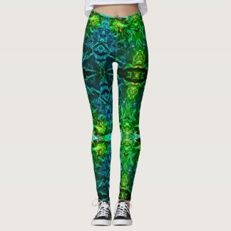 Electric Blue and Green Stain Glass Designed Leggings