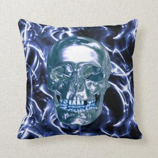 Electric Blue Chrome Skull Reversible Pillow