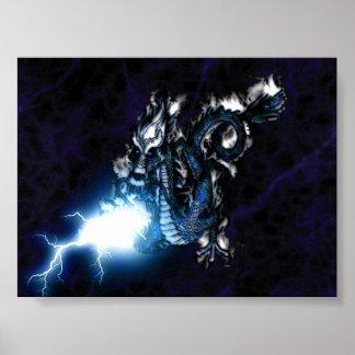 Electric Blue Dragon Poster