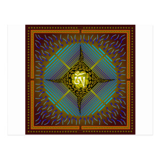 Electric Blue Energy Bursts Mandala Design Gold Sq Postcard