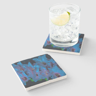 Electric Blue Flower Stone Coaster