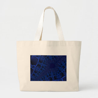 Electric Blue fractal Large Tote Bag