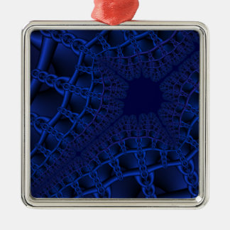 Electric Blue fractal Metal Ornament
