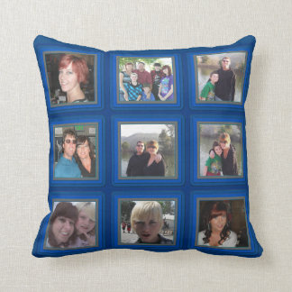 Electric Blue Frame Add Photos Instagram Collage Throw Pillow