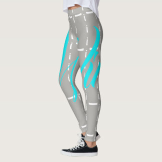 Electric Blue & Gray 'i Win' Leggings