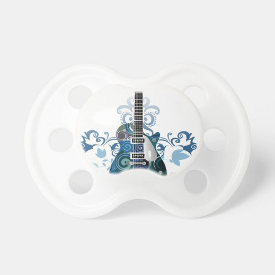 ELECTRIC BLUE GRUNGE SWIRL VECTORS GUITAR MUSIC IN BABY PACIFIER