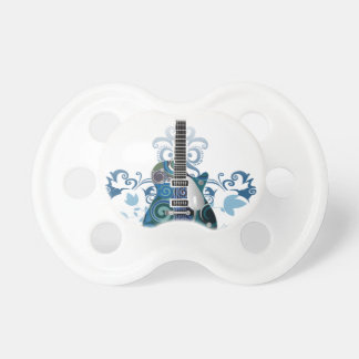 ELECTRIC BLUE GRUNGE SWIRL VECTORS GUITAR MUSIC IN PACIFIER