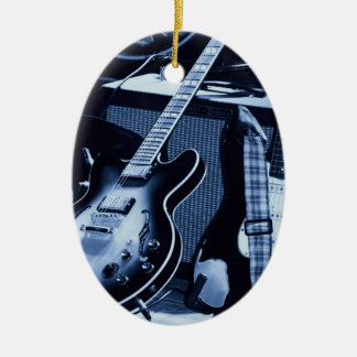 Electric Blue Guitar Ceramic Ornament