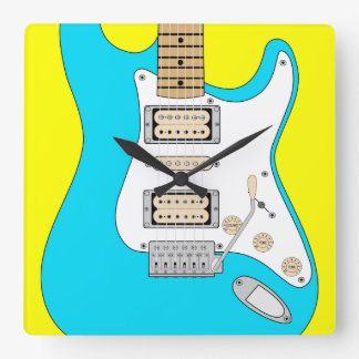 Electric Blue Guitar Square Wall Clock
