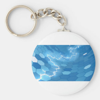 Electric Blue Honeycomb Hexagon Background Basic Round Button Keychain