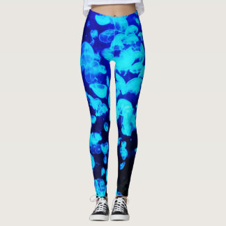 Electric blue jelly fish leggings