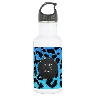 Electric Blue Leopard Print; Chalkboard look 532 Ml Water Bottle
