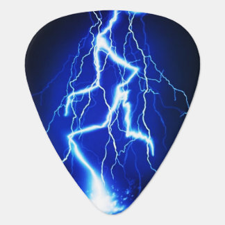 Electric Blue Lightning Bolt Guitar Pick